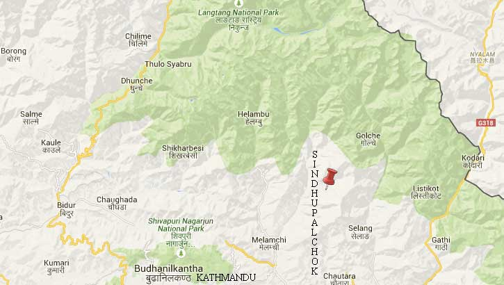 Epicentre was close to Thangladhap of Sindhupalchok, north of the district headquarters Chautara.  Map: Google/NSC