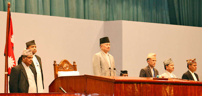 Speaker Subas Chandra Nembang (centre) before the official start of the budget session of Parliament at the CA building in Kathmandu on Tuesday, June 30, 2015. Photo: RSS