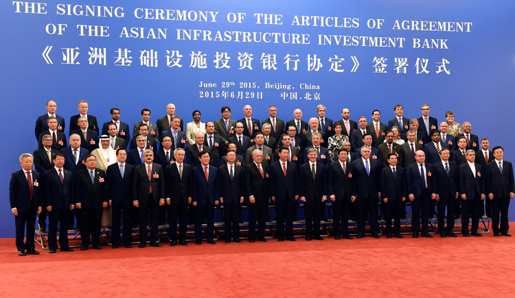 Delegated from 50 countries, including Nepalu0092s Finance Minister Ram Sharan Mahat (fifth from right, second row), posing for a picture at the nsigning ceremony of the Articles of Agreement of Asian Infrastructure Investment Bank, in Beijing, on Monday.