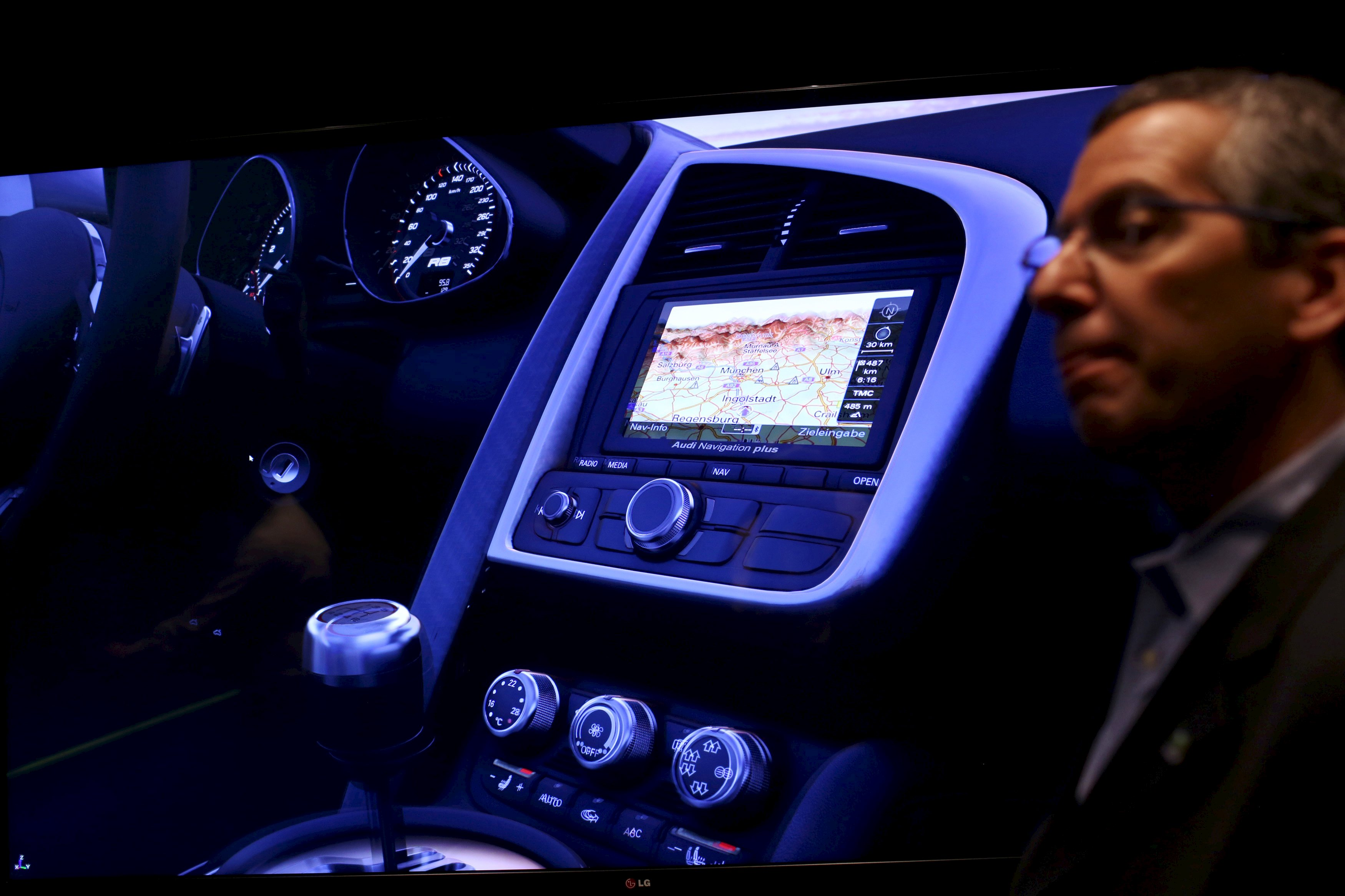Nvidia's public relations officer Danny Shapiro speaks near an electronic dashboard on a graphic display of an Audi automobile in Santa Clara, California, in this February 11, 2015 file photo. While car companies insist new screens on dashboard displays will make driving less dangerous, increasingly elaborate screens have sparked a broad debate about how much technology is appropriate in a car. Making the in-dash displays as responsive as possible with minimal glances away from the road is a major goal, says Shapiro, senior director of automotive business for Nvidia, a company that makes hardware and software for displays featured in Audis and Teslas. Photo: Reuters/ File