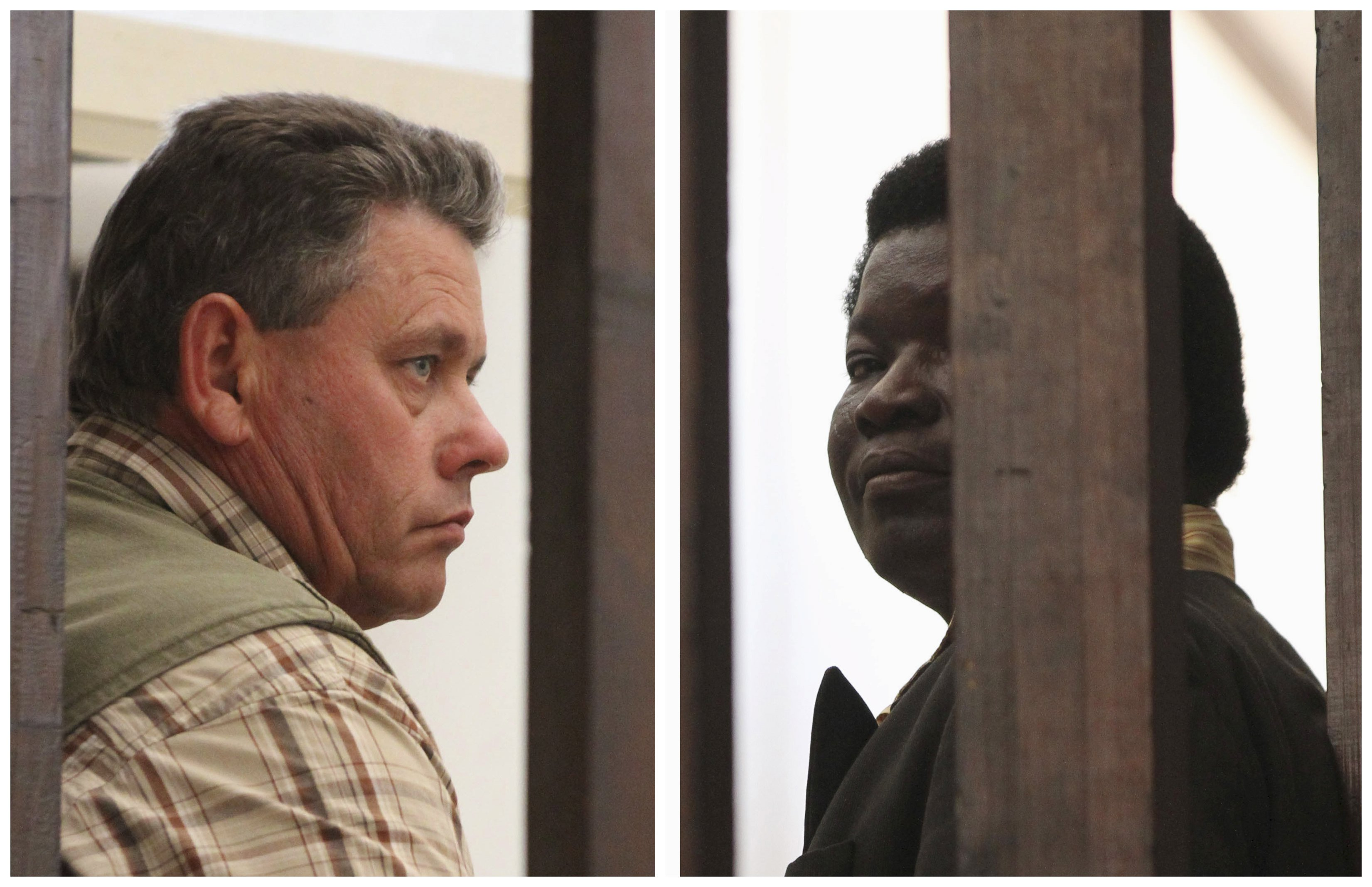 A combination photo shows Zimbabwean safari operator Honest Ndlovu (right) and fellow countryman and hunter Theo Bronkhorst waiting to appear in Hwange Magistrate's Court, on Thursday. Photo: Reuters
