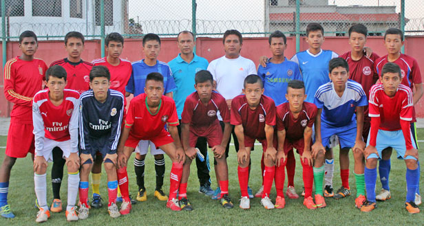 Players selected for U-14 team pose for photograph at the ANFA Complex in Satdobato. Photo: ANFA