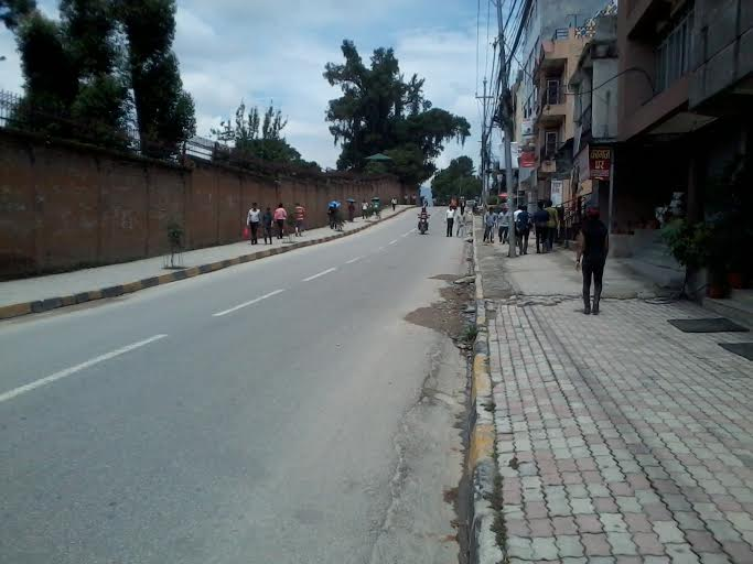 A road wears a deserted look due to the bandh enforced by the Netra Bikram Chand-led CPN Maoist, in Anamnagar on Friday, July 24, 2015. Photo: THT