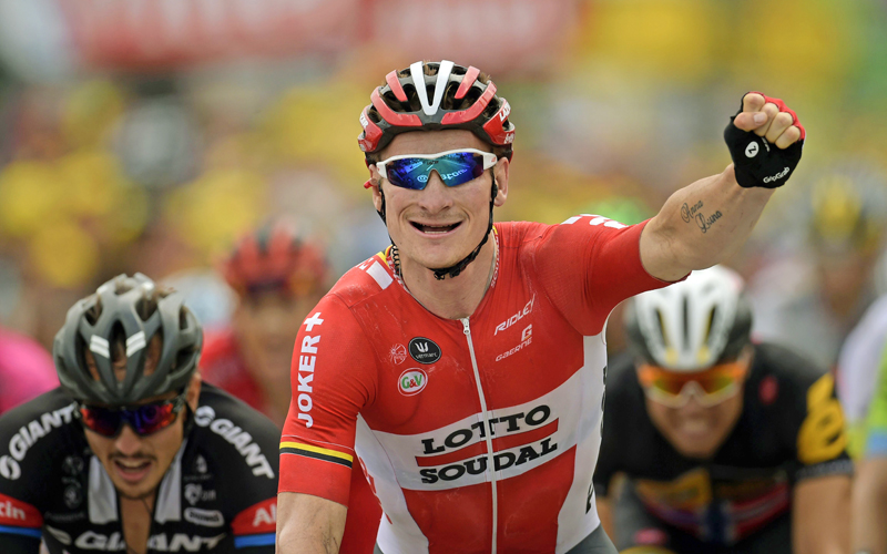 Germany's Andre Greipel celebrates as he crosses the finish line at the end of the 183 km 15th stage of the Tour de France in Valence, southern France on Sunday. Photo: AFP