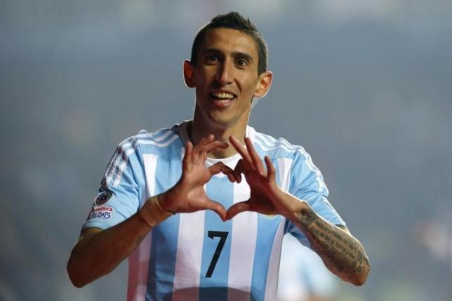 Argentina's Angel Di Maria celebrates after scoring a goal against Paraguay during their Copa America 2015 semi-final soccer match at Estadio Municipal Alcaldesa Ester Roa Rebolledo in Concepcion, Chile, June 30, 2015.  REUTERS/Andres Stapff/Files
