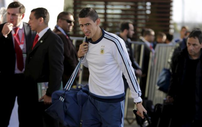 Angel Di Maria arrives at hotel Radisson in Concepcion, June 29, 2015.REUTERS/Jorge Adorno