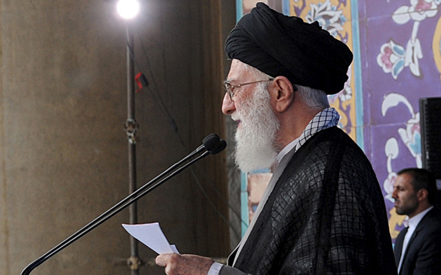 Iran's Supreme Leader Ayatollah Ali Khamenei delivering a sermon during morning prayers for the Eid al-Fitr holiday, at the Imam Khomeini grand mosque in central Tehran on Saturday. Photo: Reuters