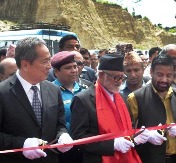Prime Minister Sushil Koirala inaugurating the BP Highway (Banepa-Bardibas road) in Dhulikhel, Kavre, on Friday. Photo: THT