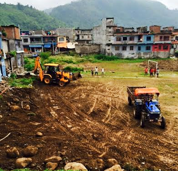 Dozers are being used to construct Bhimad Stadium as national level stadium in Tanahun on Saturday, July 04, 2015.nPhoto: Madan Wagle
