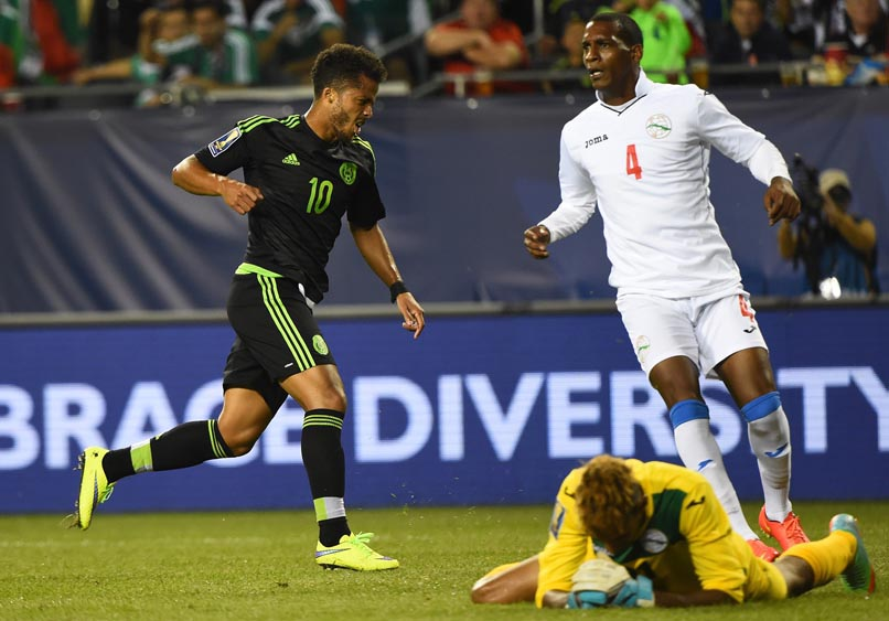 Mexico midfielder Giovani Dos Santos (10) reacts after scoring a goal against Cuba in the second half during CONCACAF Gold Cup group play at Soldier Field. Mexico defeated Cuba 6-0.  Photo: Mike DiNovo-USA TODAY Sports via Reuters