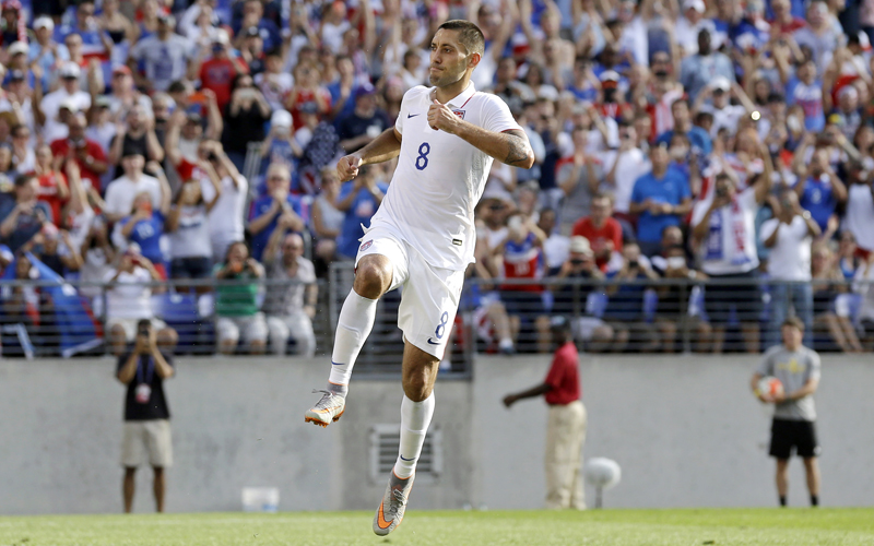Clint Dempsey of the US celebrates after scoring a goal against Cuba during their Gold Cup quarter-final match in Baltimore on Saturday. Photo: AP