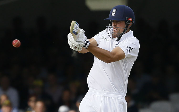 England's Alastair Cook plays a shot against Australia on the second day of their second Ashes Test match at Lord's cricket ground in London on Saturday. Photo: AP