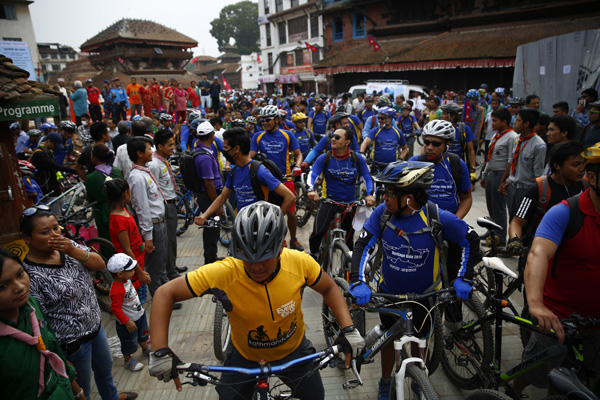 Mountain bike participants take part in a cycle rally in Kasthamandap , Kathmandu on Saturday. PHOTO:THT