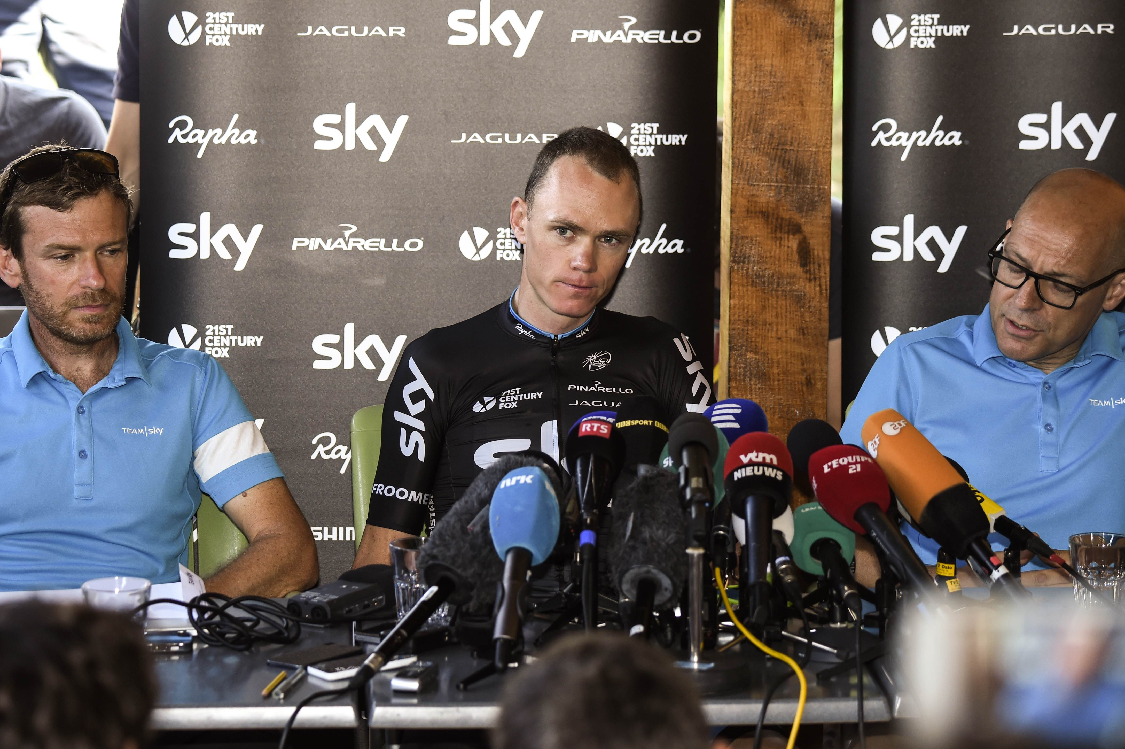 Great Britain's Christopher Froome reacts during a press conference in Sisteron, France on Tuesday. Photo: AFP