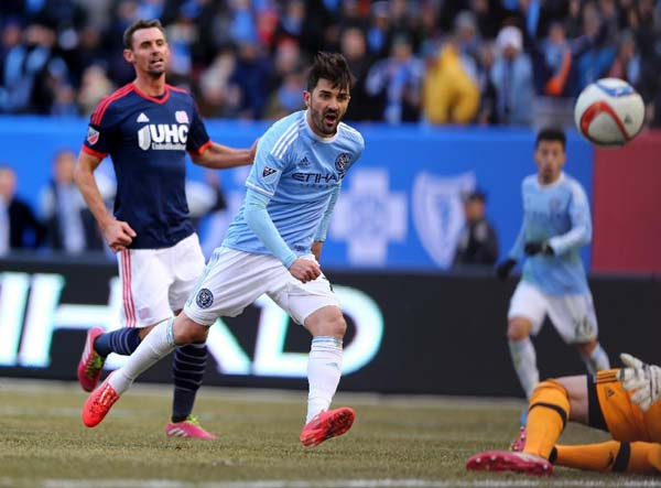 David Villa of New York City FC scores a goal on March 15, 2015. Photo: AFP