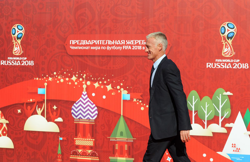 France's football coach Didier Deschamps arrives to attend preliminary draw for the 2018 World Cup qualifiers at the Konstantin Palace in Saint Petersburg on July 25, 2015. Photo: AFP