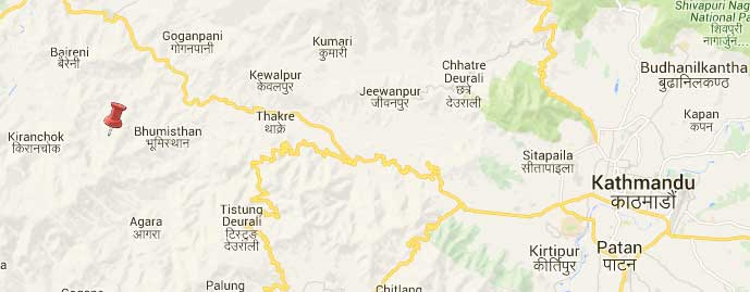 Epicentre lies in between Kiranchok and Bhumistand of Dhading. Map: Google/NSC