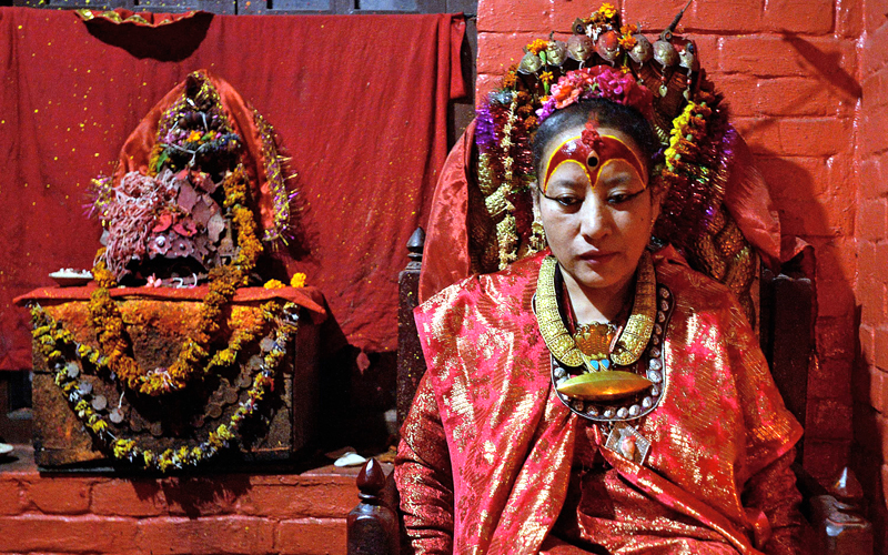 Dhana Kumari Bajracharya, the longest reigning Kumari of Nepal, left her quarters in Kathmandu for the first time in three decades as tremors reduced nearby temples to rubble in April. Photo: AFP