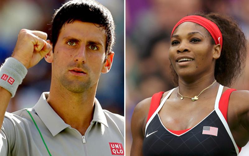 Novak Djokovic (left) and Serena Williams