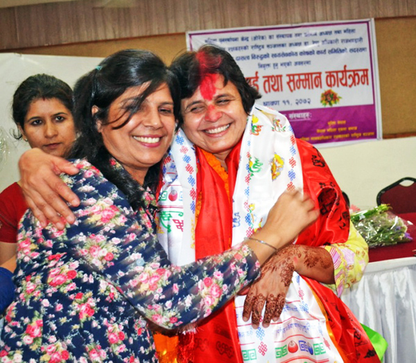 WOREC Chair Dr Renu Rajbhandari being felicitated for her appointment in UN Board of Trustees, on Monday. Photo: THT