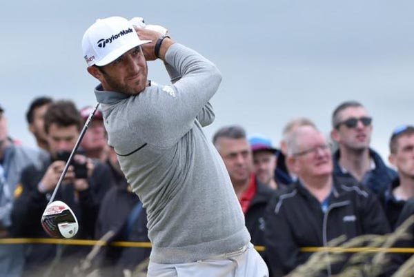 St Andrews, GBR; Dustin Johnson plays his tee shot on the 10th hole during The 144rd Open Championship - First Round at The Royal & Ancient Golf Club of St Andrews - Old Course. nPhoto: Reuters