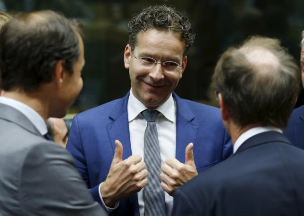 Dutch Finance Minister and Eurogroup President Jeroen Dijsselbloem (C) gestures during a euro zone finance ministers meeting in Brussels, Belgium, July 11, 2015.  REUTERS/Francois Lenoir