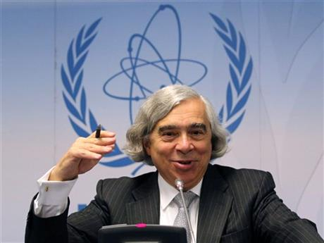 FILE - In this Sept. 22, 2014 file photo, Energy Secretary Ernest Moniz speaks during the general conference of the International Atomic Energy Agency, IAEA, at the International Center in Vienna, Austria. AP