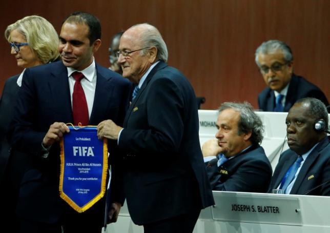 FIFA President Sepp Blatter (R) stands with Prince Ali bin Al Hussein of Jordan at the 65th FIFA Congress in Zurich, Switzerland, May 29, 2015.  REUTERS/Ruben Sprich