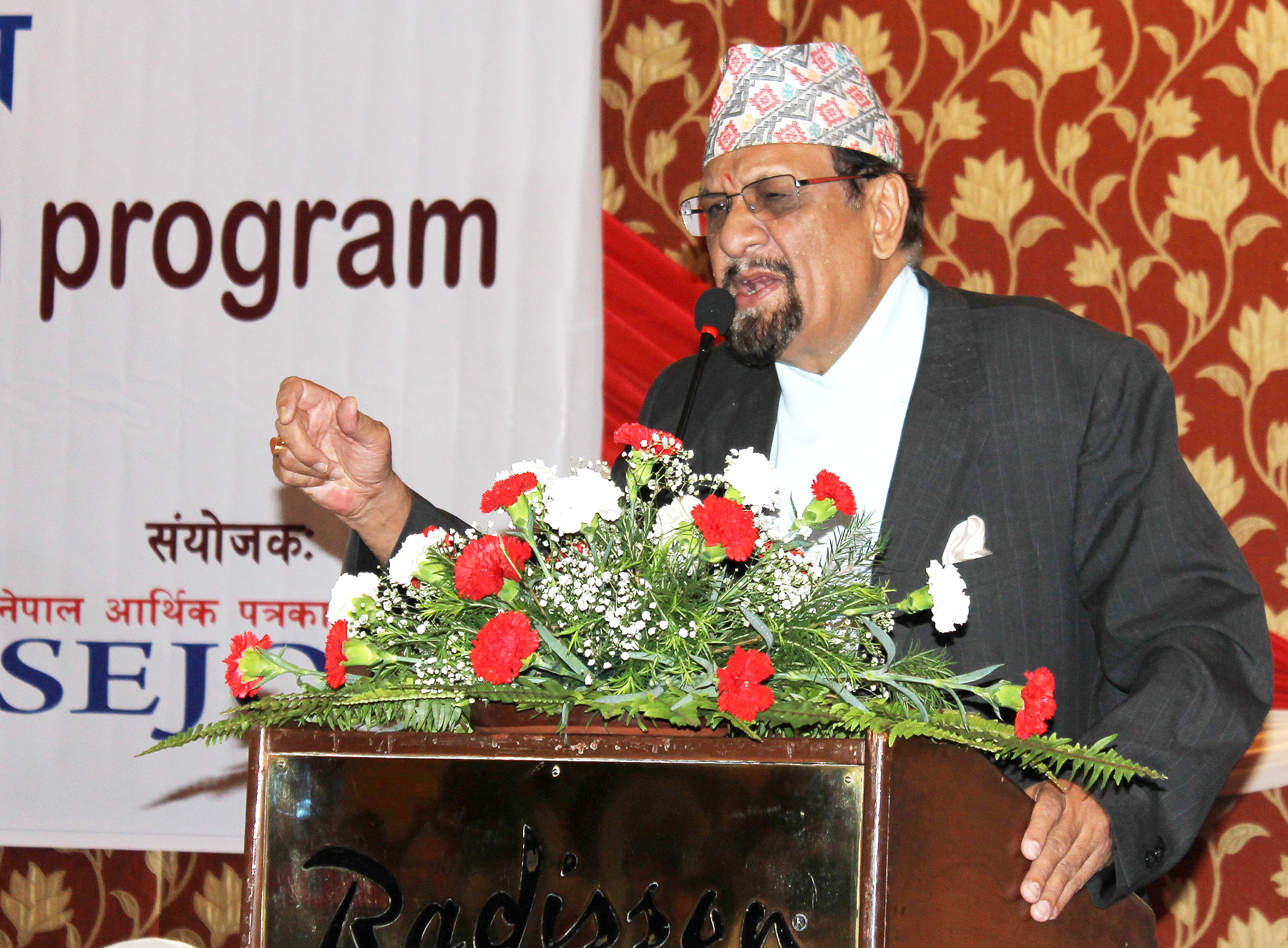 The then Minister for Finance Dr Ram Sharan Mahat express his view during a post-budget discussions program organised by the Ministry of Finance in the Capital on Wednesday, July 15, 2015. Photo: RSS
