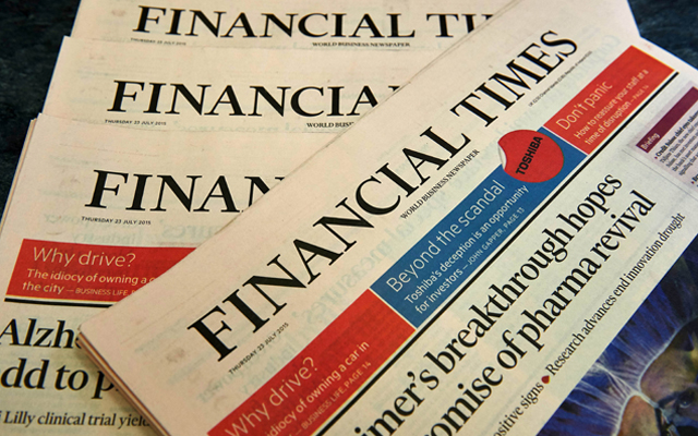 Copies of Financial Times displayed for photograph in London. British publisher Pearson on Thursday said it had agreed to sell the FT Group to Japanese digital media group Nikkei for $1.31 billion in cash. Photo: Reuters
