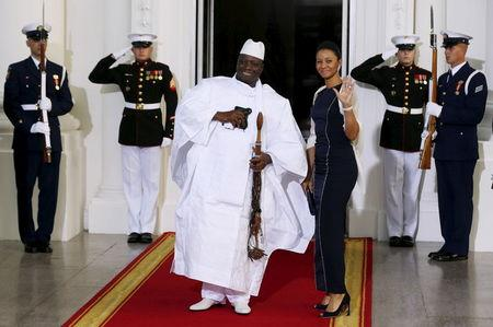 Gambia's President Yahya Jammeh and his wife Zineb Jammeh arrive for the official U.S.-Africa Leaders Summit dinner at the White House in Washington, in this August 5, 2014 file picture. Photo: Reuters