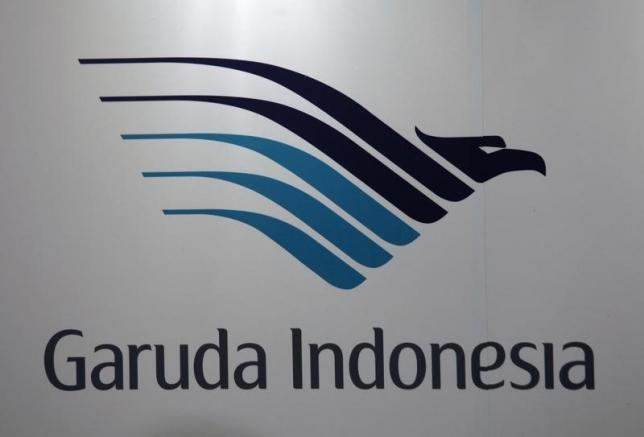 A company logo of Garuda Indonesia airline is displayed during a news conference in Hong Kong September 16, 2011. REUTERS/Bobby Yip/Files