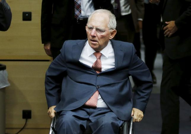German Finance Minister Wolfgang Schaeuble arrives to attend a euro zone finance ministers meeting in Brussels, Belgium, July 11, 2015. REUTERS/Francois Lenoir