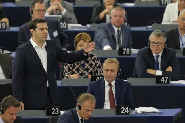 Greek Prime Minister Alexis Tsipras addresses the European Parliament in Strasbourg, France, July 8, 2015. REUTERS/Vincent Kessler