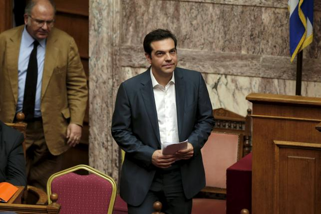 Greek Prime Minister Alexis Tsipras arrives for a parliamentary session in Athens, Greece July 16, 2015.  REUTERS/Alkis Konstantinidis
