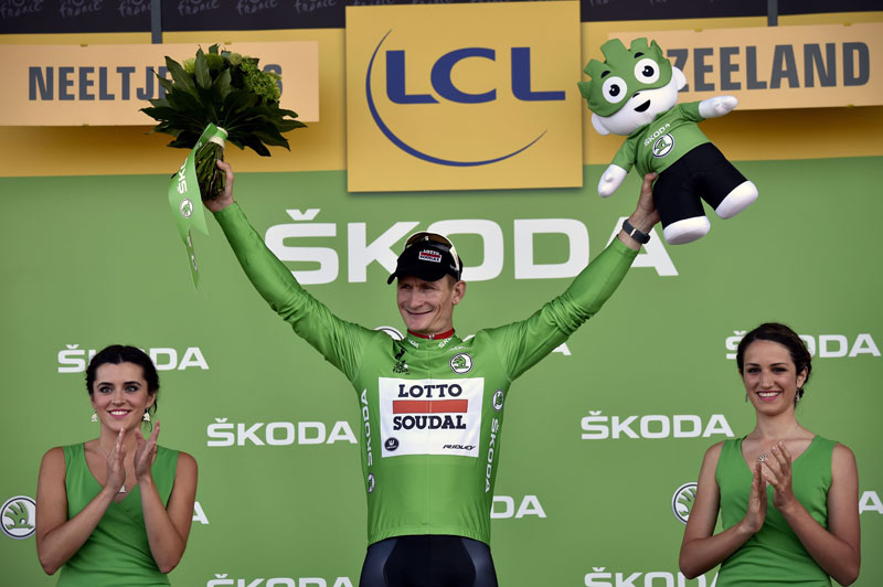 Germany's Andre Greipel celebrates his green jersey of the best sprinter on the podium at the end of the nsecond stage of the 102nd Tour de France cycling race in Zeeland on Sunday. Photo: AFP