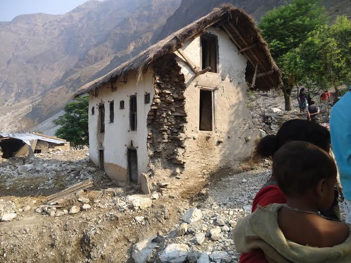 A partially damaged house in a Haliya settlement in Bajura district. Photo: Prakash Singh