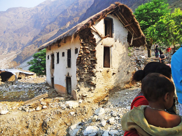 A Haliya settlement, which is at risk of landslides, in Badhu VDC, Bajura, on Saturday.   Photo: THT
