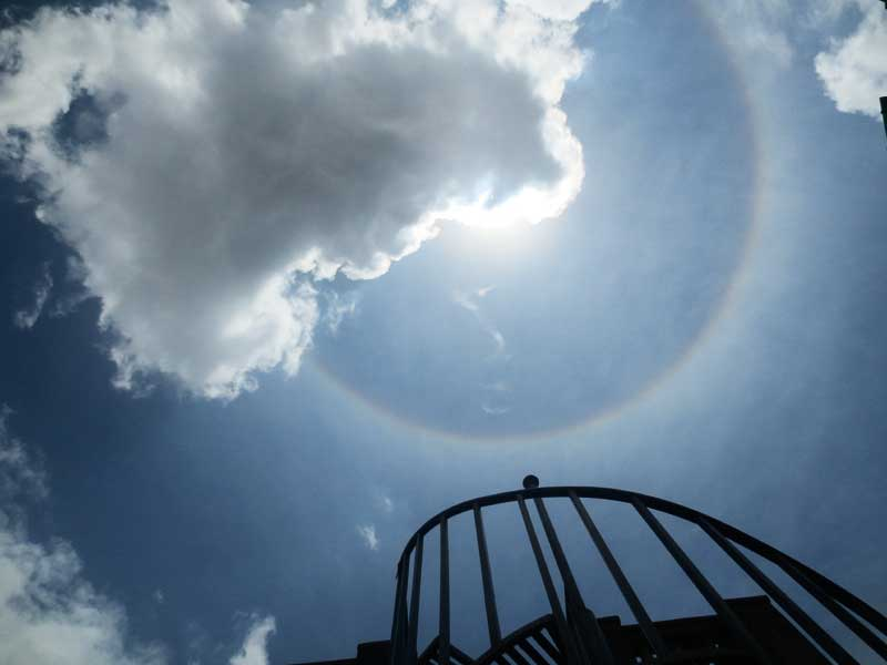 A colourful circle, called halo, seen around the sun in Kathmandu on Wednesday afternoon, July 8, 2015. Photo: Keshav P. Koirala