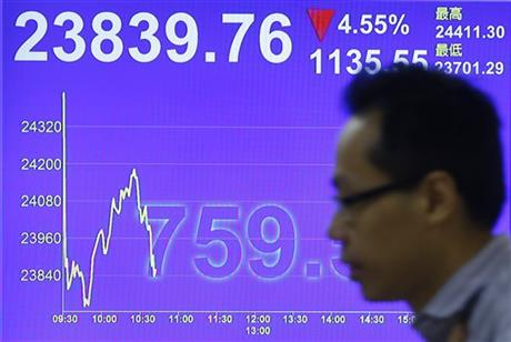 A man walks past a screen showing the Hong Kong share index at a brokerage firm in Hong Kong, Wednesday, July 8, 2015. The Hang Seng Index has dropped in morning trading following more big losses on mainland markets. AP