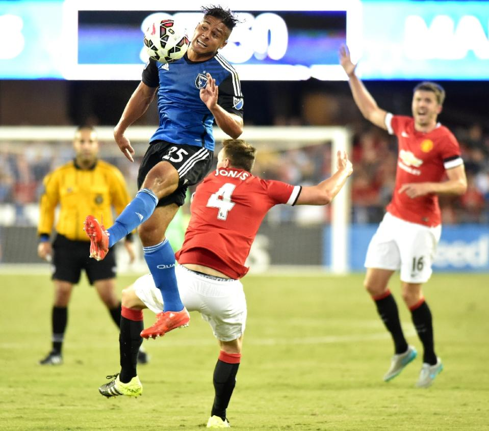 JJ Koval (top) of the San Jose Earthquakes jumps for the ball while fending off Phil Jones of Manchester United during an International Champions Cup match at Avaya Stadium in San Jose, California on July 21, 2015. Photo: AFP