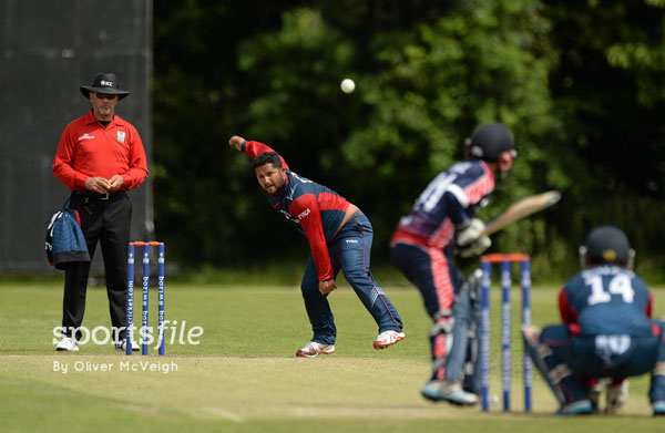 Nepalu0092s Basant Regmi bowls against the United States of America during their Group A match of the ICC World Twenty20 Qualifiers in Stormont, Ireland on Friday.Photo: ICC