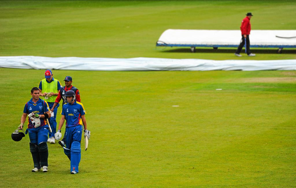 Namibia were 61-1 in 7.4 overs when the match was stopped for the second time due to rain. Photo: ICC