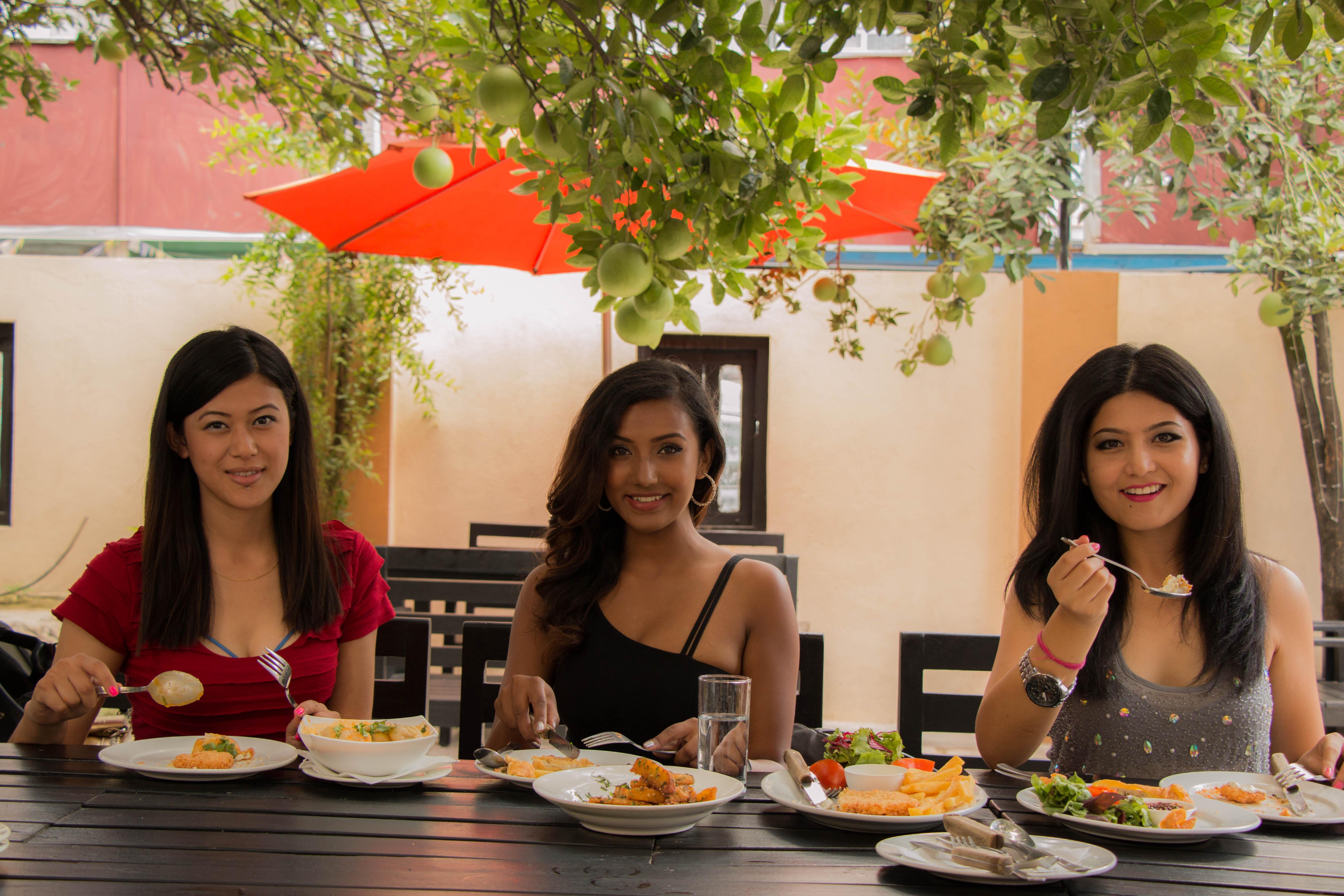 From left to right: nAlka Rai, Model nSrijana Regmi, Miss Glam Hunt 2014nSonie Rajbhandari, Miss Nepal Earth 2014