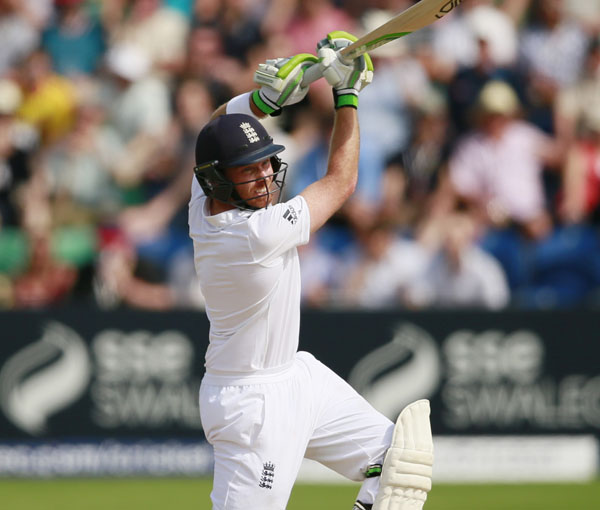 Englandu0092s Ian Bell plays a shot against Australia on the third day of the first Ashes Test in Cardiff on Friday. Photo: REUTERS