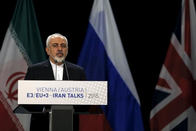 Iranian Foreign Minister Mohammad Javad Zarif attends a joint news conference with High Representative of the European Union for Foreign Affairs and Security Policy Federica Mogherini at the Vienna International Center in Vienna, Austria July 14, 2015. REUTERS/Carlos Barria