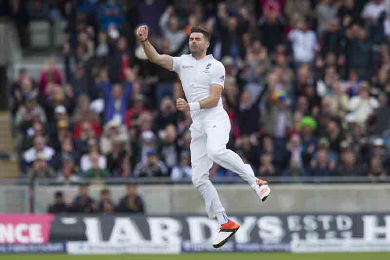 England's James Anderson celebrates after dismissing Australia's Adam Voges on the first day of their third Test match on Wednesday. Photo: AP