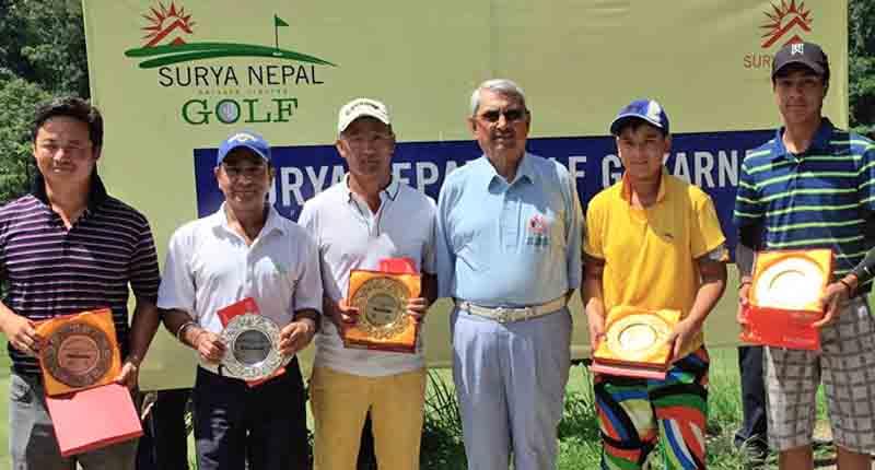 (From left) Jigme Dongstesang, Kishan Agrawal, Jamling Ghale, Lt Gen KNS Thapa, Shreeyog Basnyat and Prithivi Malla after the Surya Nepal Gokarna Monthly Medal at the Gokarna Golf Club in Kathmandu on Saturday. Photo: THT
