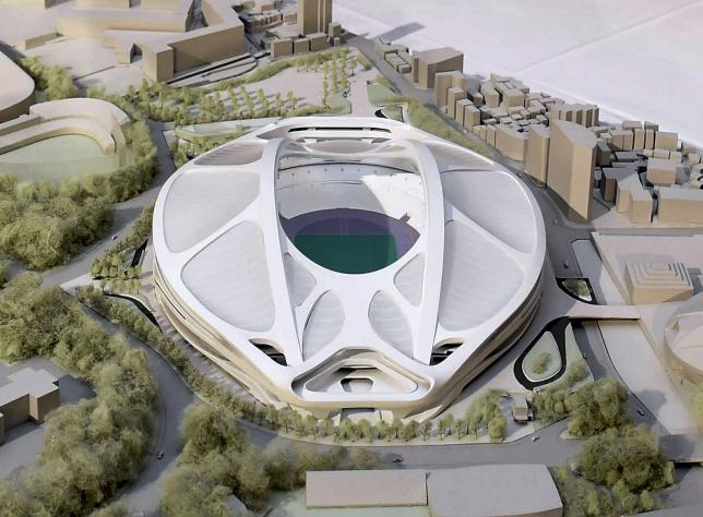 A rendering model of the new National Stadium for 2020 Tokyo Olympics and Paralympics, designed by Iraqi-British architect Zaha Hadid, is displayed at a meeting of memebrs of the advisory council on the construction of the new stadium, in Tokyo, in this photo taken by Kyodo July 7, 2015 and released on July 17, 2015. Mandatory credit REUTERS/Kyodo
