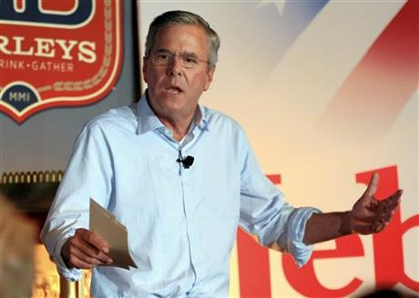 In this July 14, 2015, photo, Republican presidential candidate former Florida Gov. Jeb Bush speaks during a meet and greet event in Council Bluffs, Iowa. AP